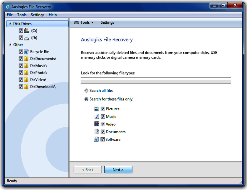 Auslogics File Recovery windows
