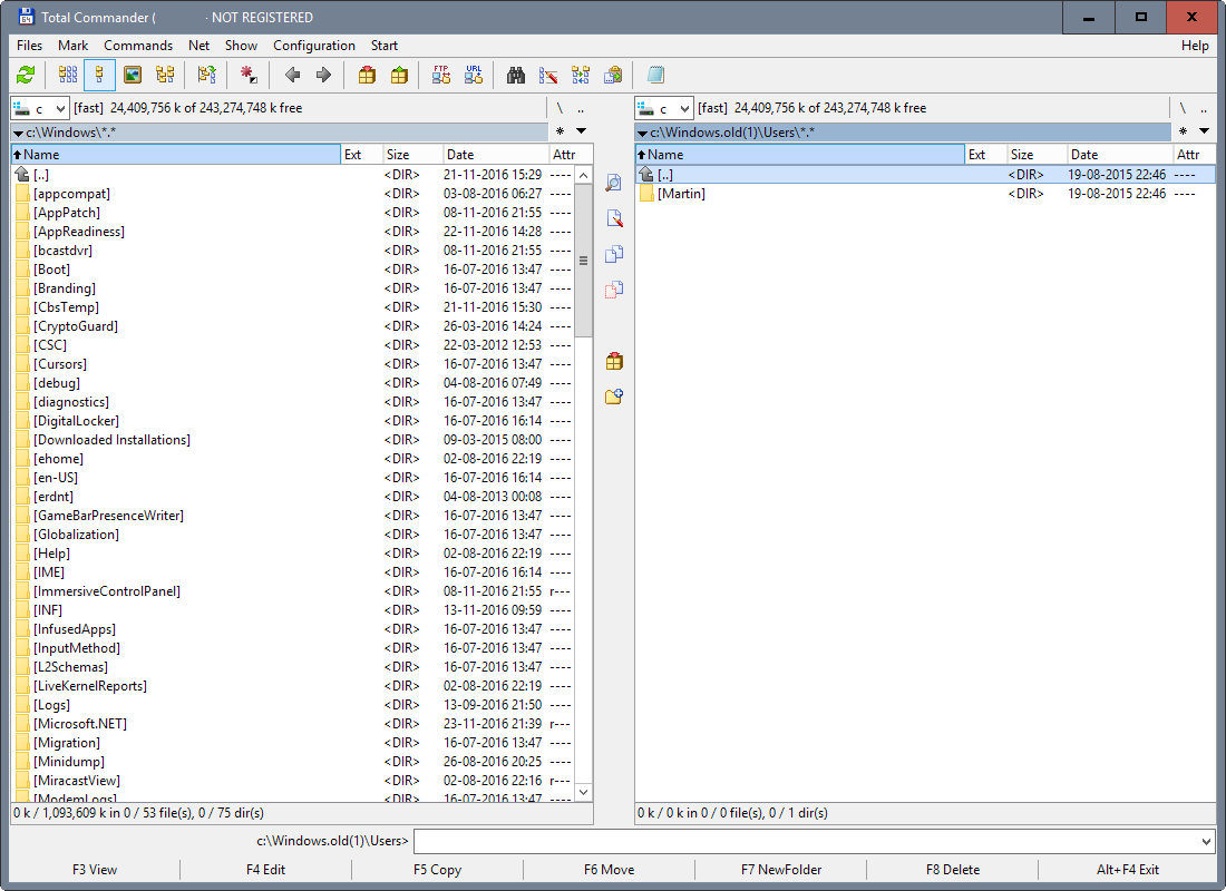 Total Commander windows