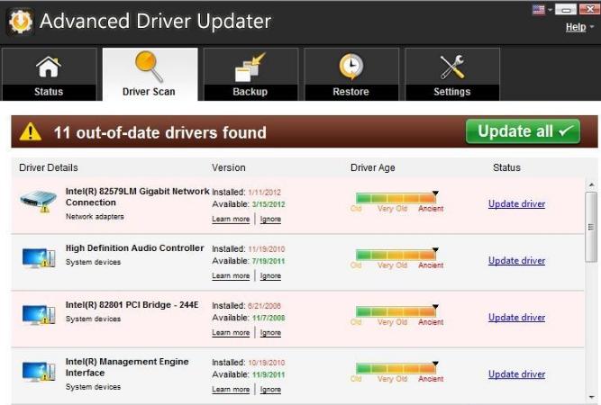 Advanced Driver Updater windows