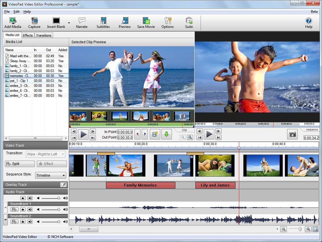 NCH VideoPad Video Editor Pro windows