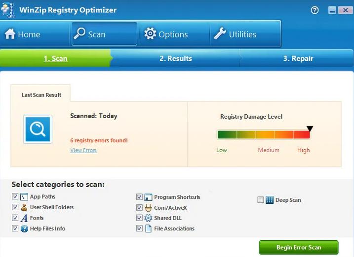 WinZip Registry Optimizer window