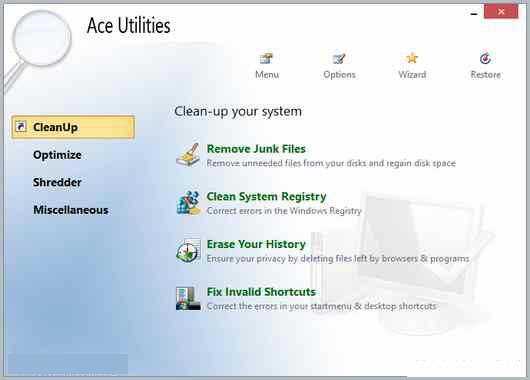 Ace Utilities windows