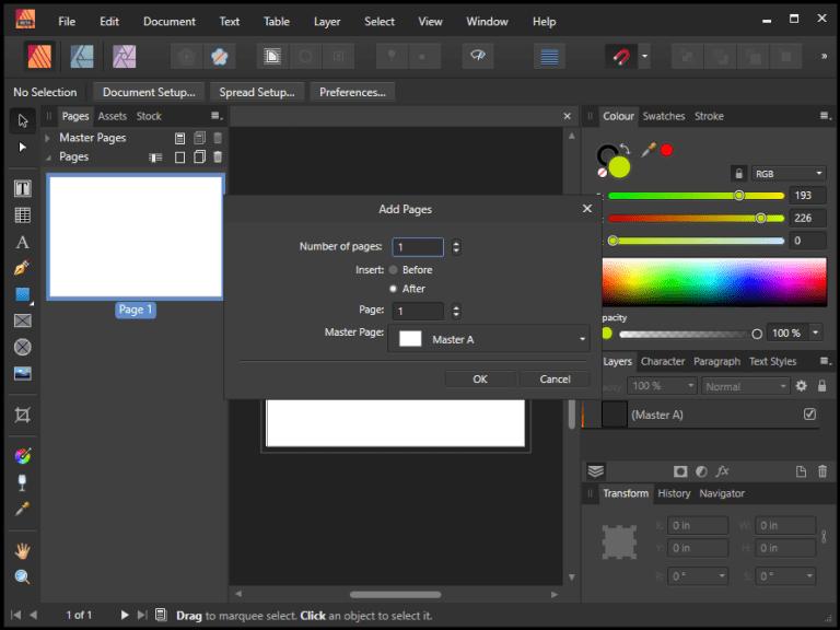 Serif Affinity Publisher windows